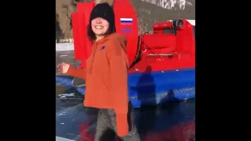 Gold medalist ice skater practices on frozen lake in Russia