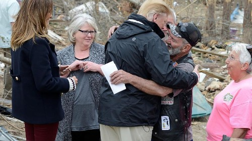 US President Trump meets victims of the deadly tornado which struck last week