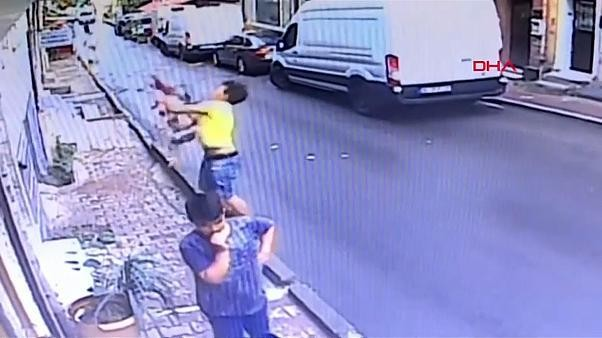 Teenager saves baby falling from second floor window in Istanbul