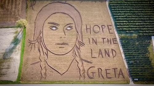 Giant portrait of Greta Thunberg made in Italian field