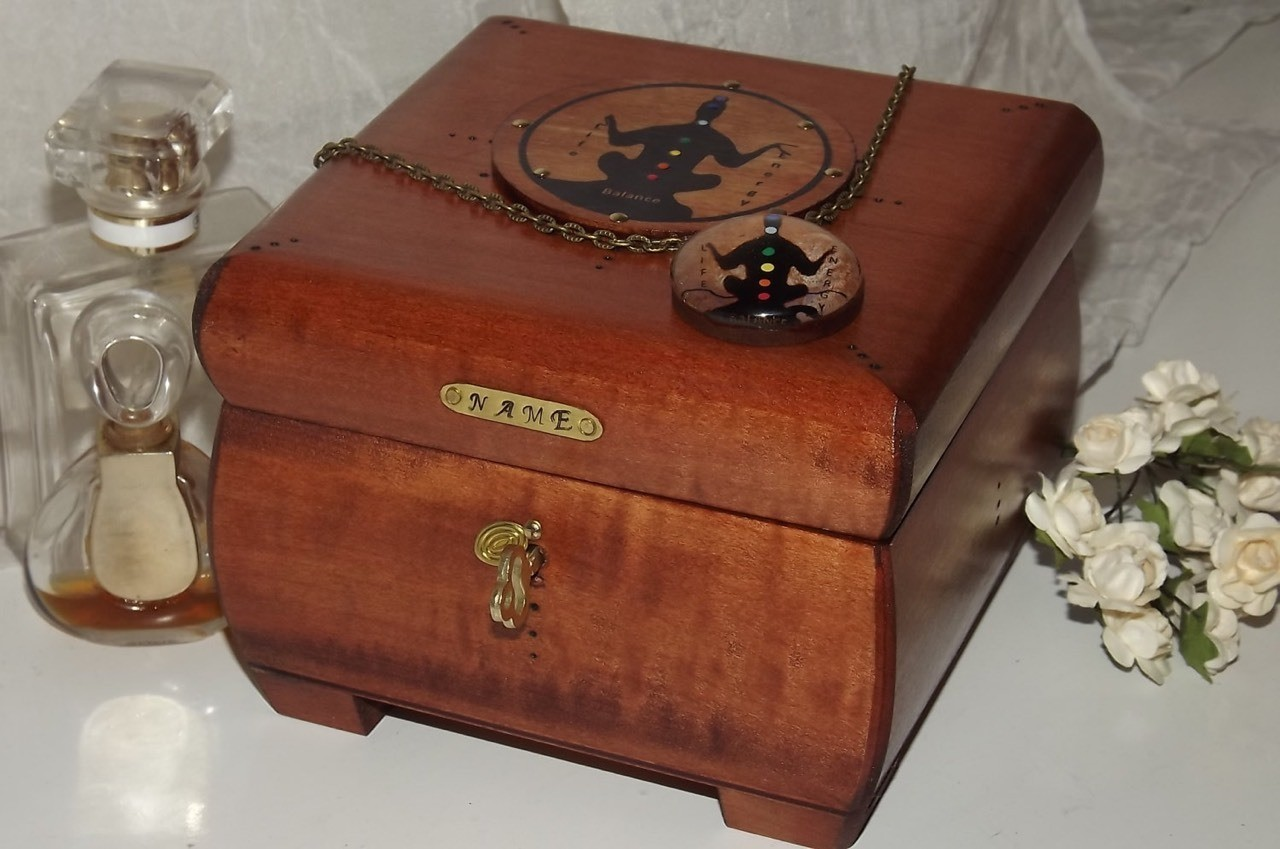 chakra meditation lockable wooden box with matching pendant.