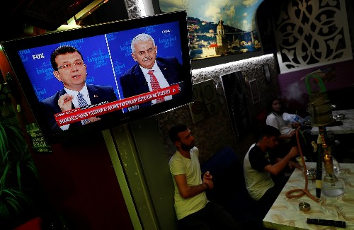 Istanbul candidates clash on TV before election test for Erdogan
