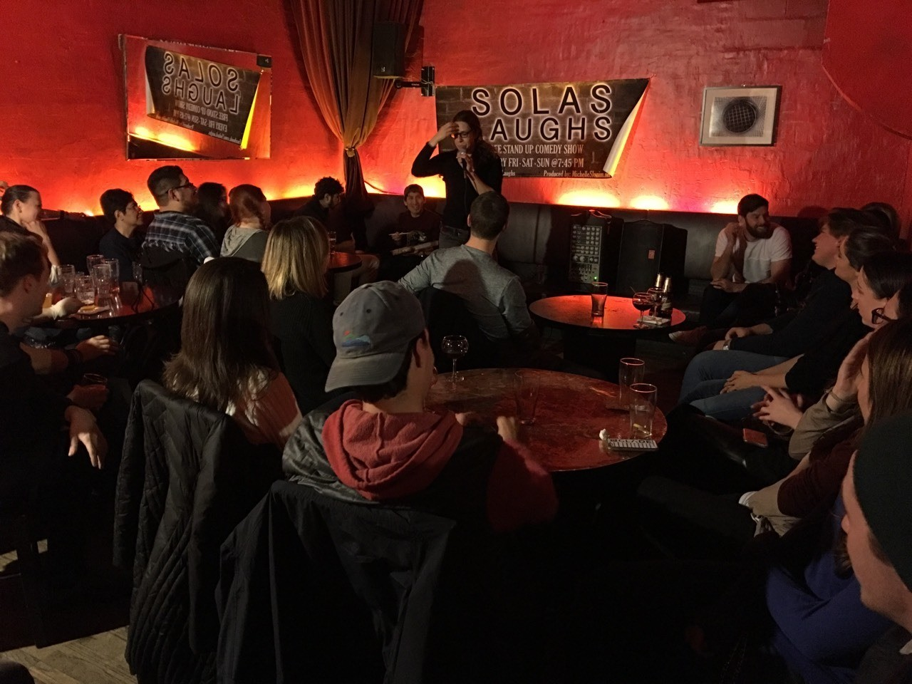 FREE comedy show every Friday, Saturday and Sunday at 7:45pm at Solas (232 E9th St, East Village, New York; New York, 2nd floor of venue) with free drink raffles