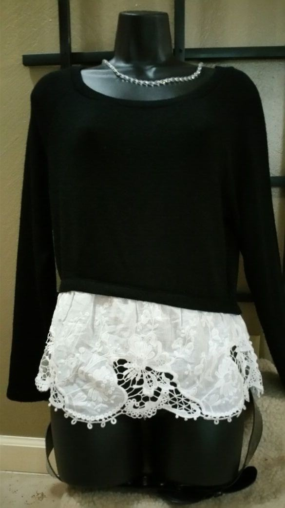 too cute all in one sweater and lace Mason Jules med From Macy's w o rn Twice. excellent condition