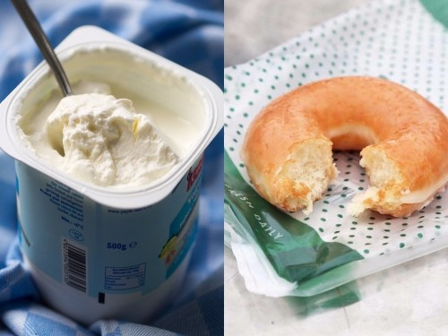 Side-by-side photos show which 'healthy' foods actually contain more sugar than junk food