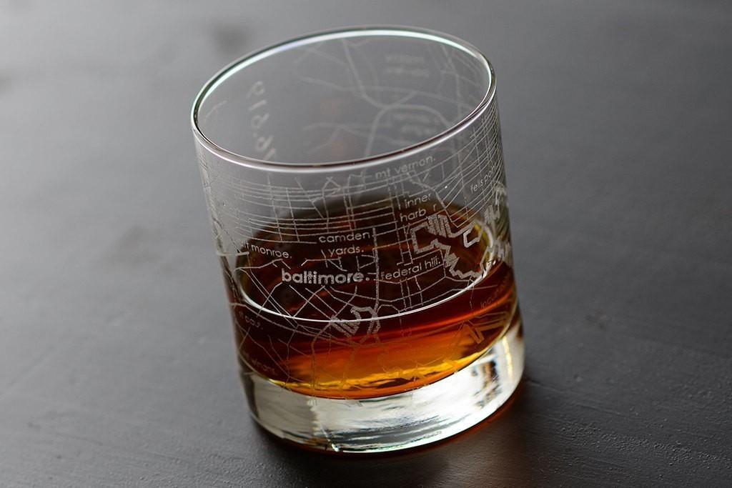 Baltimore Maps Rocks Glass