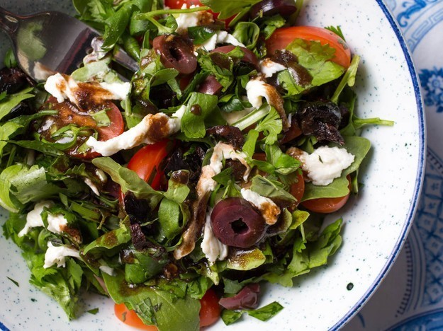 Mixed-Herbs Salad With Olives, Tomatoes, and Fresh Mozzarella Recipe