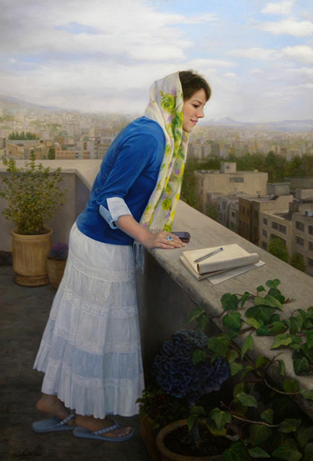 Eid Mubarak, इक चाँद फ़लक पर है , इक बाम पे निकला है दिल इक में बसा जाये , इक दिल में बसा जाऐ ........... फिराक़ गोरखपुरी 'A Date', 2010, Painting by Sheida keyhan haghighi, Iranian, Born 1983 ___________________________ इक चाँद फ़लक पर है , इक बाम पे निकला है दिल इक में बसा जाये , इक दिल में बसा जाऐ ........... फिराक़ गोरखपुरी फ़लक : sky, heaven, आसमान, भाग्य बाम : the roof of a house, terrace , छत ___________________________