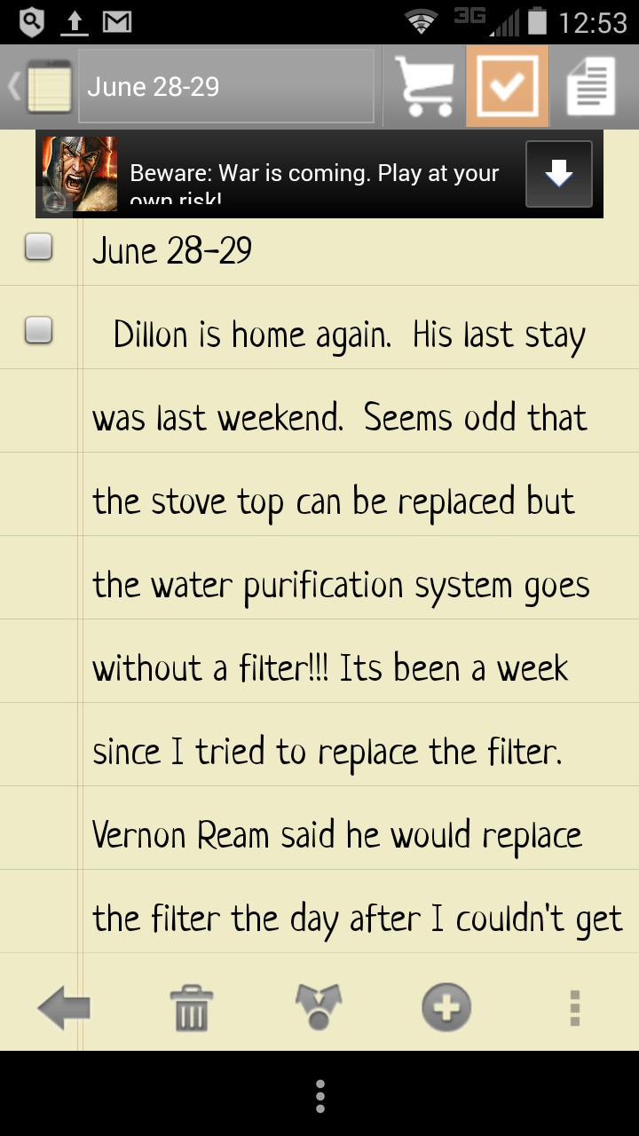 "28-29 June Dillon is home again, stove top is being replaced but why not our water filtration system? I tried replacing the filter and couldn't. Vernon Lee Ream promised to replace the filter the next day, didn't happen ""innocent"" my fucking ass!"