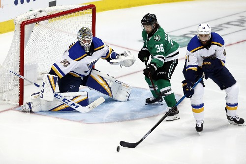 Stars switch top lines and beat Blues 4-2 to even series 2-2
