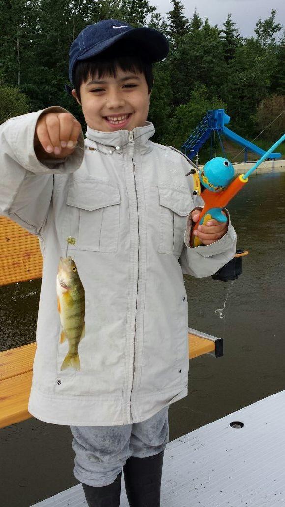 Kyson's first fish! Scoobie doo!!