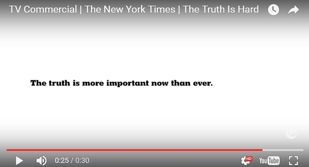 The New York Times using the Oscars to launch a new ad campaign about 'The Truth'