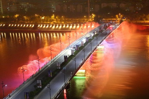 Musical Fountains Light Up Peach Blossom Island in China: Pictures