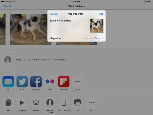 iOS 8에서 Flipboard로 공유하기