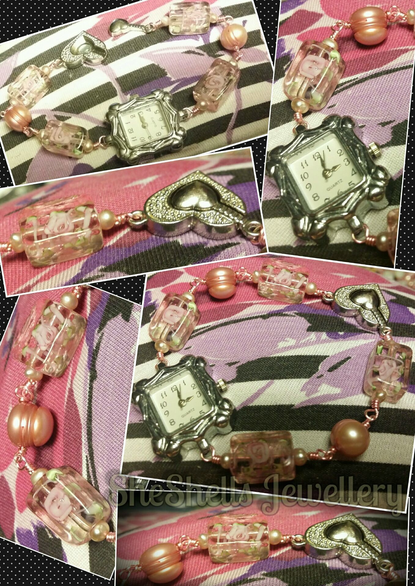 Hand crafted Watch with beautiful Rectangular Pink Glass Beads and 2 types of Real Pink Freshwater Pearls - £12.50 The watch has teeny peach freshwater pearls either side of the rectangular glass beads and pink freshwater potato pearls inbetween. The rectangular glass beads have pink swirls & flowers with green leaves. It closes with a silver plated, textured, magnetic heart shaped clasp