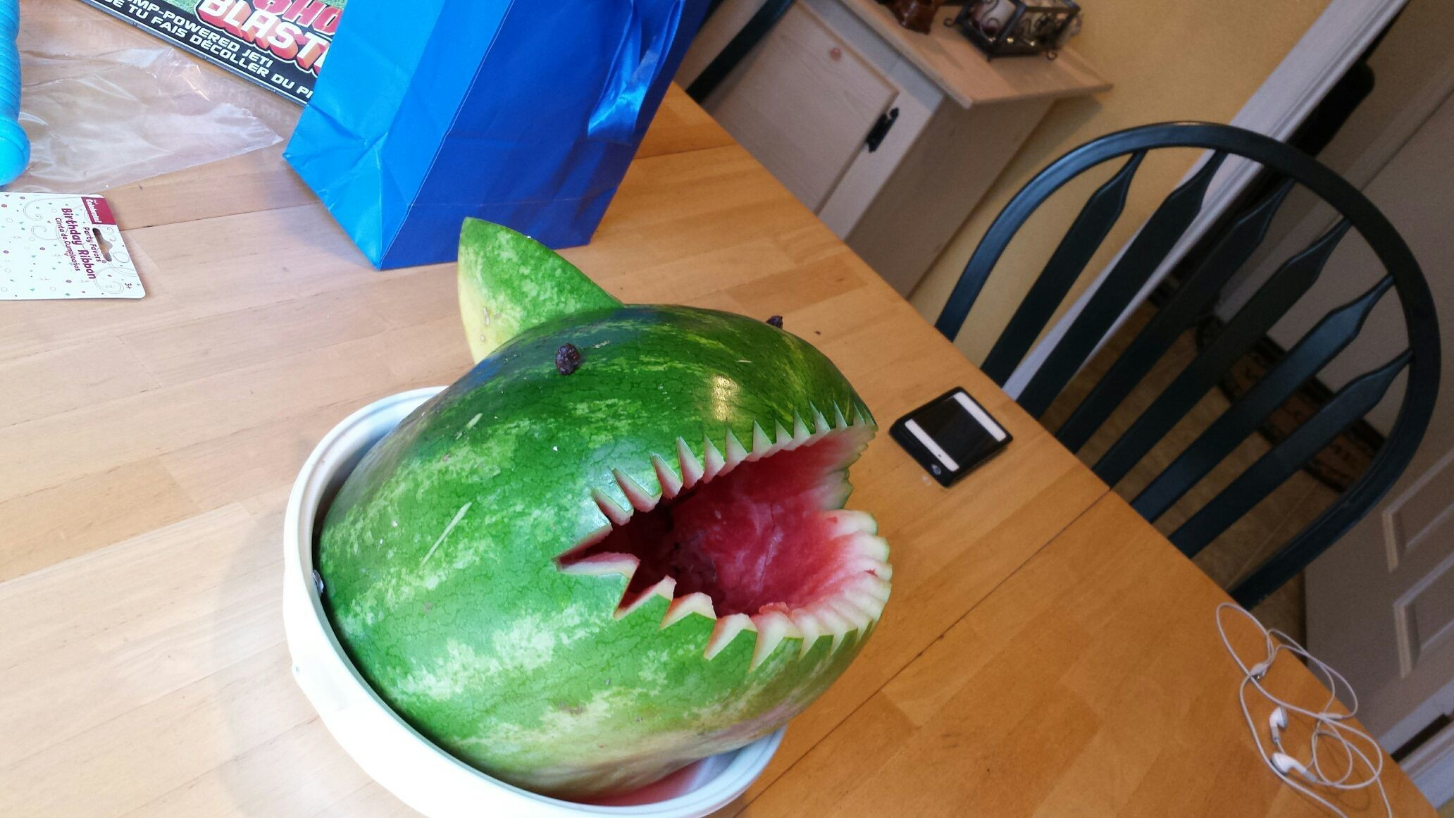 My watermelon shark. Clay ' s last birthday he wanted a watermelon party. We had a watermelon eating contest and a watermelon ball fit. He had soo much fun