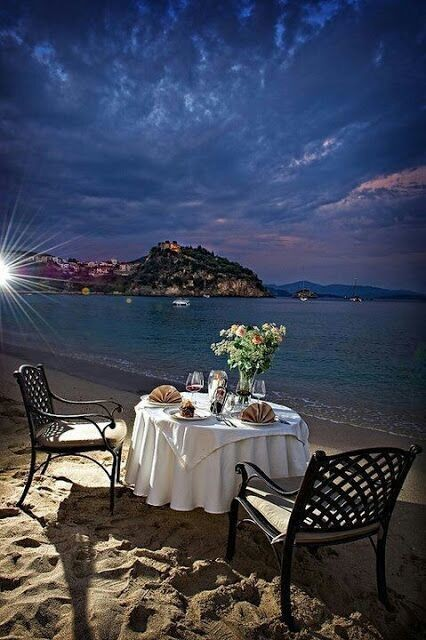 Dinner on the waterfront wallpaper