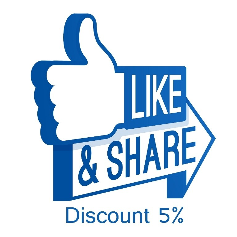 Like & Share our Facebook page & get 5%Discount
