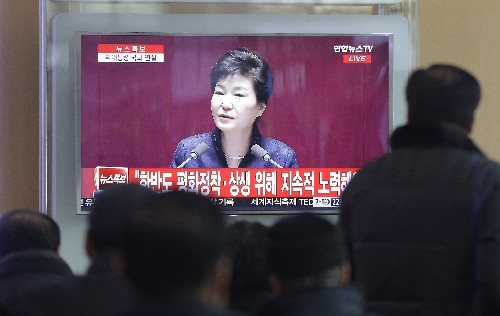 South Korea's leader warns of North Korea collapse