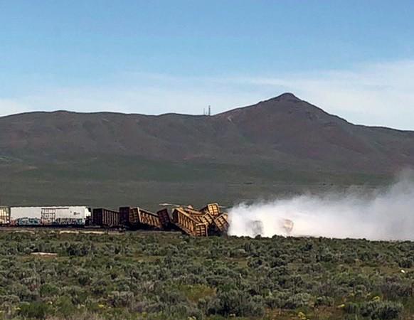 Train derails in Nevada, spilling vegetable oil, closing major highway