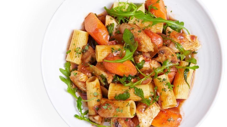 Chicken, Arugula, Thyme and Pasta Stew Recipe