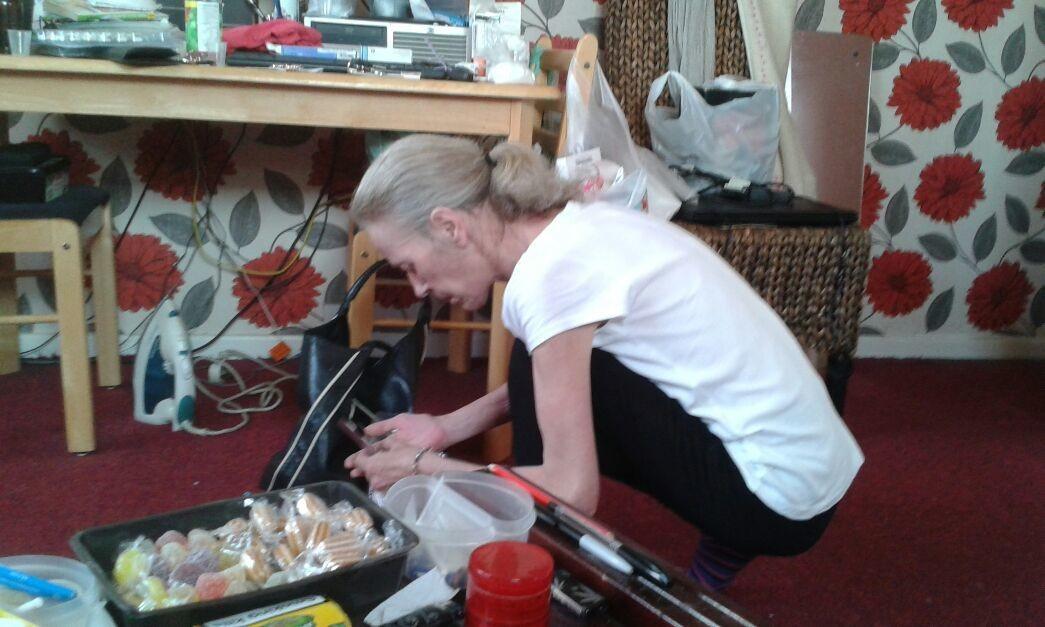 Caroline sorting out her medication!