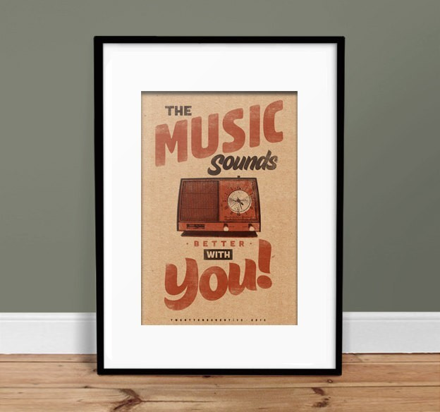 Music Sounds Better With You - Vintage Poster - Retro Art Print