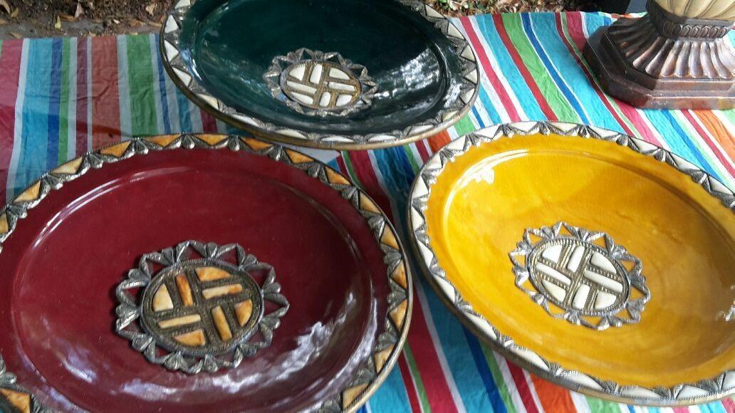 3 handmade African Bowls
