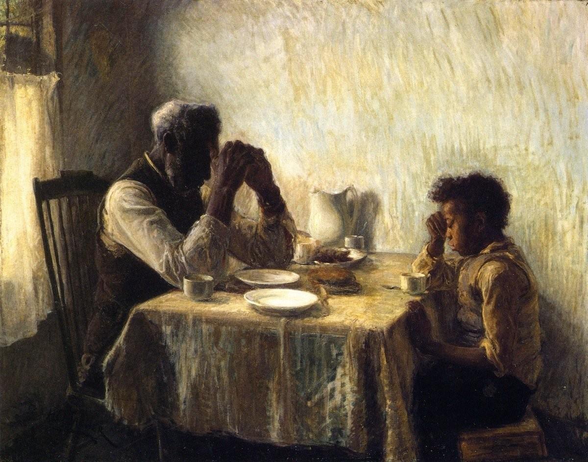 जो कल रहा , उसका शुक्रिया मेहनत मेरी , रहमत तेरी उम्मीद मेरी , बरक़त तेरी आज कल से बेहतर होगा The Thankful Poor, 1894 Painting by Henry Ossawa Tanner, American, 1859 - 1937