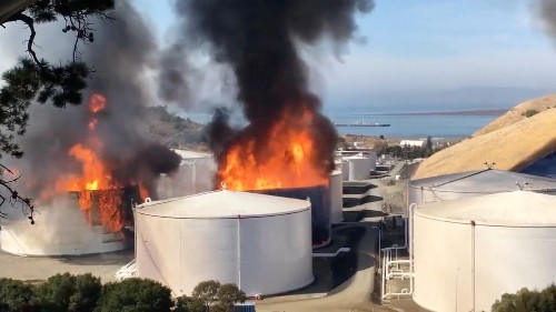 Fire engulfs NuStar ethanol storage tanks near San Francisco