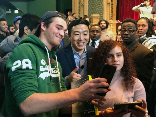 Andrew Yang having fun, but Democrat's message is serious