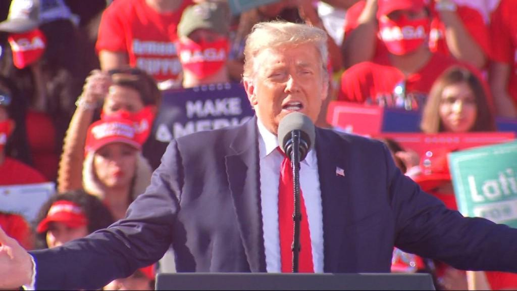Crowd chants 'lock him up' as Trump slams Biden