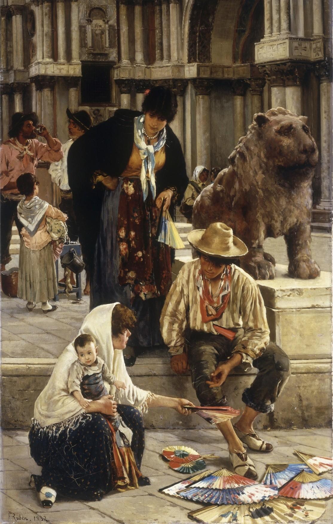 The fan seller, 1882 Painting by Franz Leo Ruben, German, 1842 - 1920