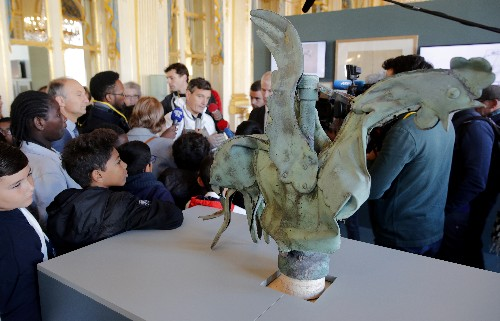 Fire-damaged rooster from Notre-Dame's spire goes on display