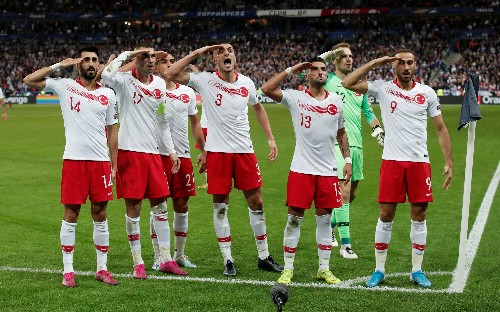 Turkey players salute Syria operation after goal against France