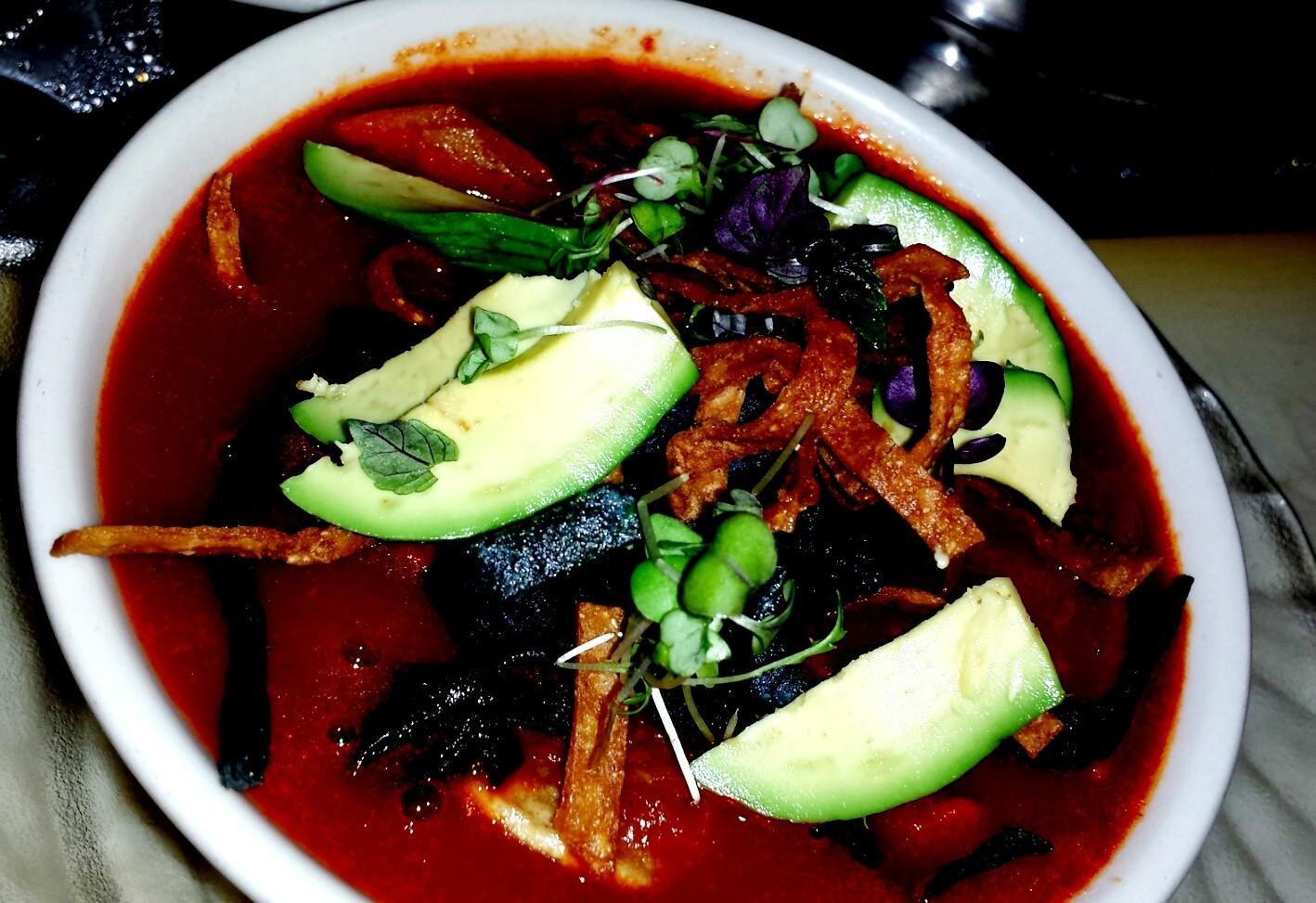 chicken tortilla soup..avocado & microgreens.