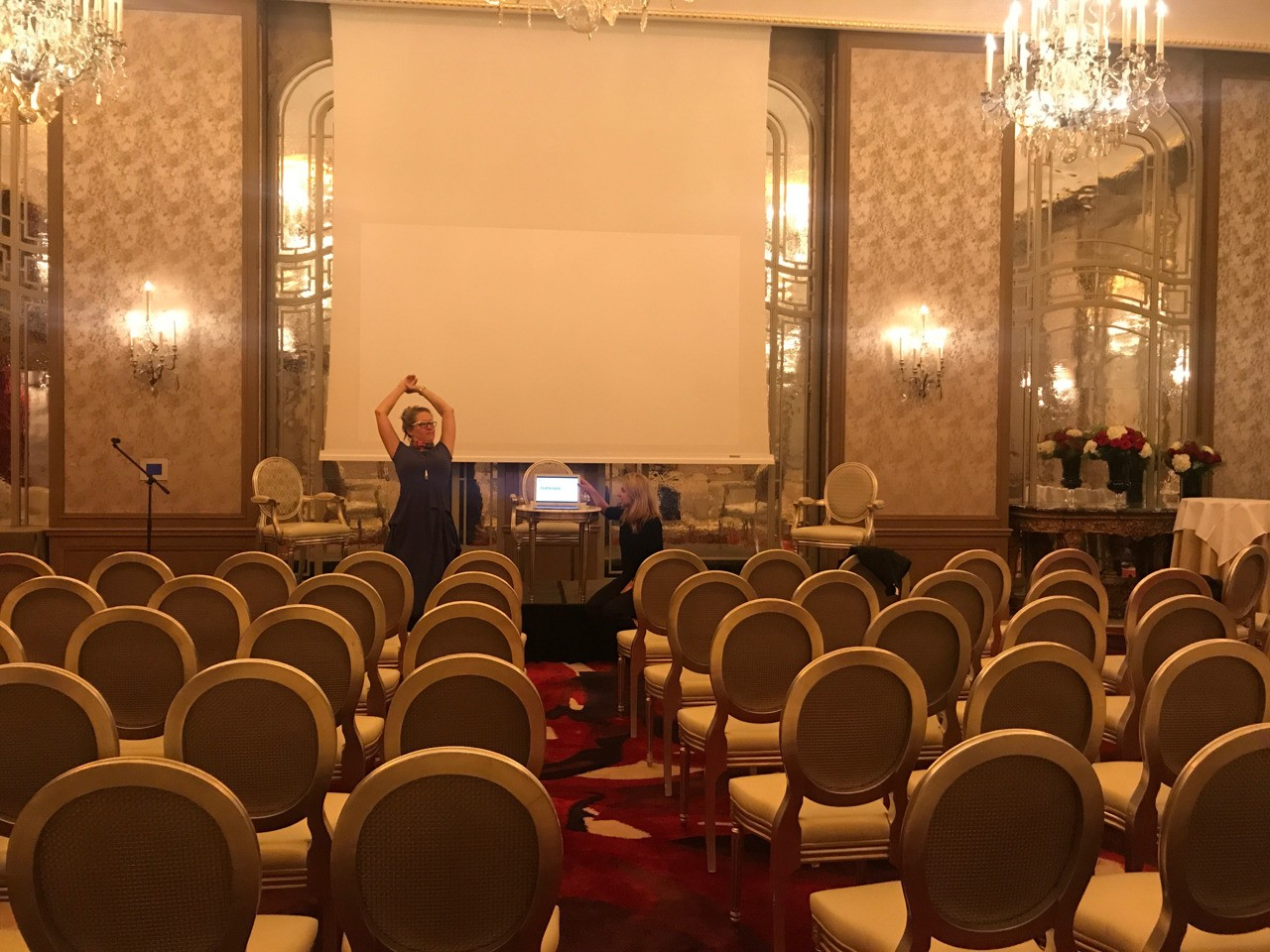 Paris event prep. Amie putting Christine thru her paces ahead of our event in Paris tomorrow.!🇫🇷