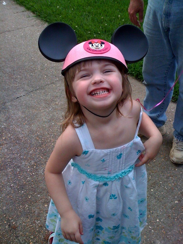 Katie in her new Minnie Mouse hat! Missing my niece Katie!