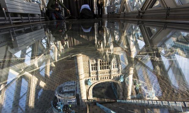 Tower Bridge opens glass-floored walkway 42 metres above river Thames