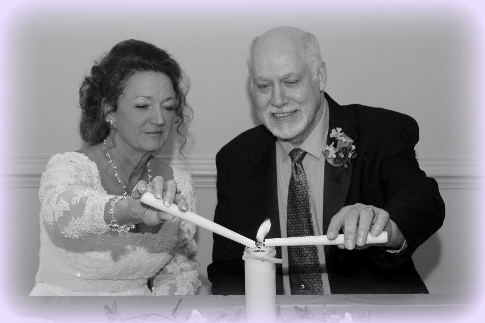 Lighting the candles.