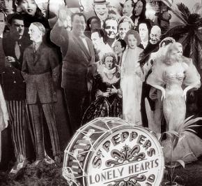 Для обложки альбома «Клуб одиноких сердец Сержанта Пеппера» каждый из Битлз составил свой список людей, изображения которых были бы на обложке в качестве «публики» на воображаемом концерте. Список Леннона включал Христа, Гитлера и Ганди. В связи с тем, что годом ранее (1966) разгорелся скандал, когда Леннон заявил, будто бы Битлз популярнее Иисуса Христа, эти скандальные фигуры на обложку не попали: фигуру Христа даже не стали изготавливать, Ганди был на фотоснимке, но был закрашен, а Гитлер был убран в процессе съёмок. Впервые о этом рассказал художник Питер Блейк изданию «Индепендент». Позже публике стали доступны ранние фотографии со съёмок, где фигуру Гитлера можно видеть среди прочих. По его утверждению, Гитлер таки есть среди толпы, но его не видно за спинами самих Битлз.