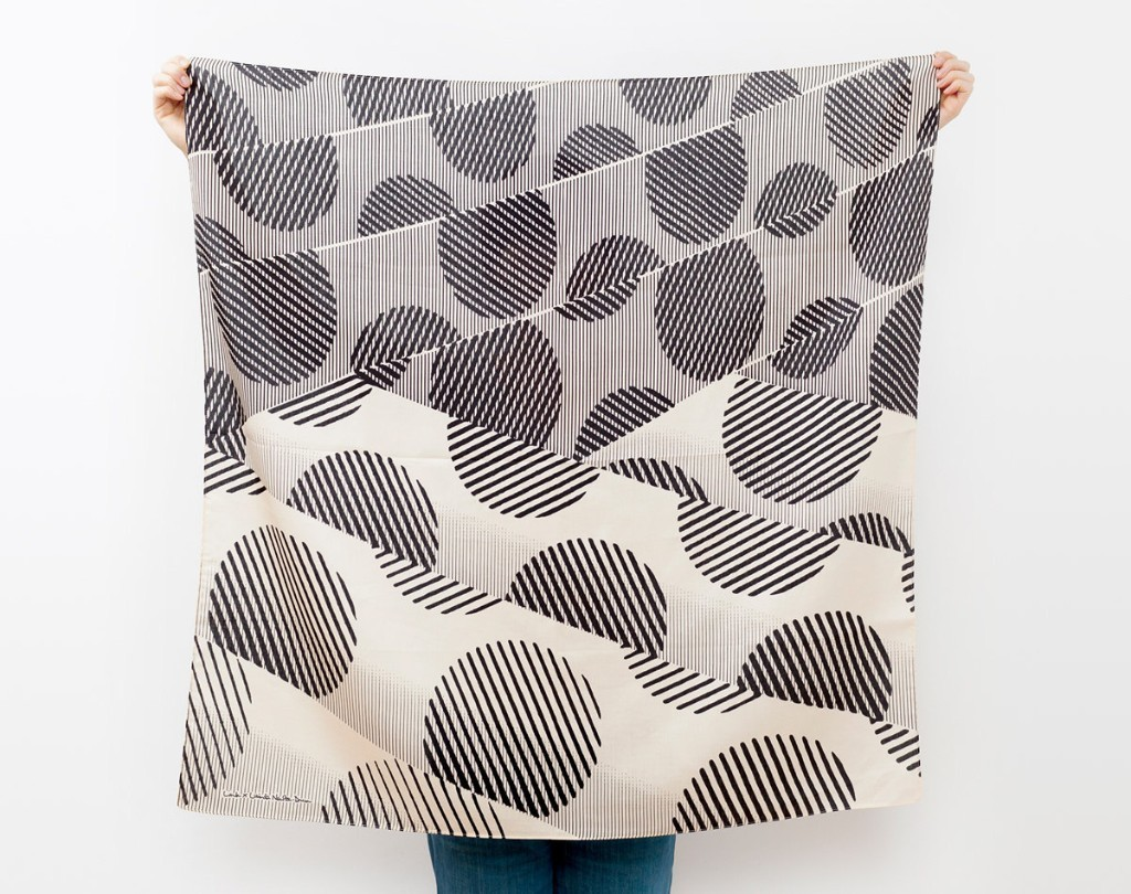 Dots furoshiki (black) Japanese eco wrapping textile/scarf, handmade in Japan