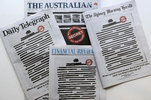 Australian papers redact front pages to expose govt secrecy