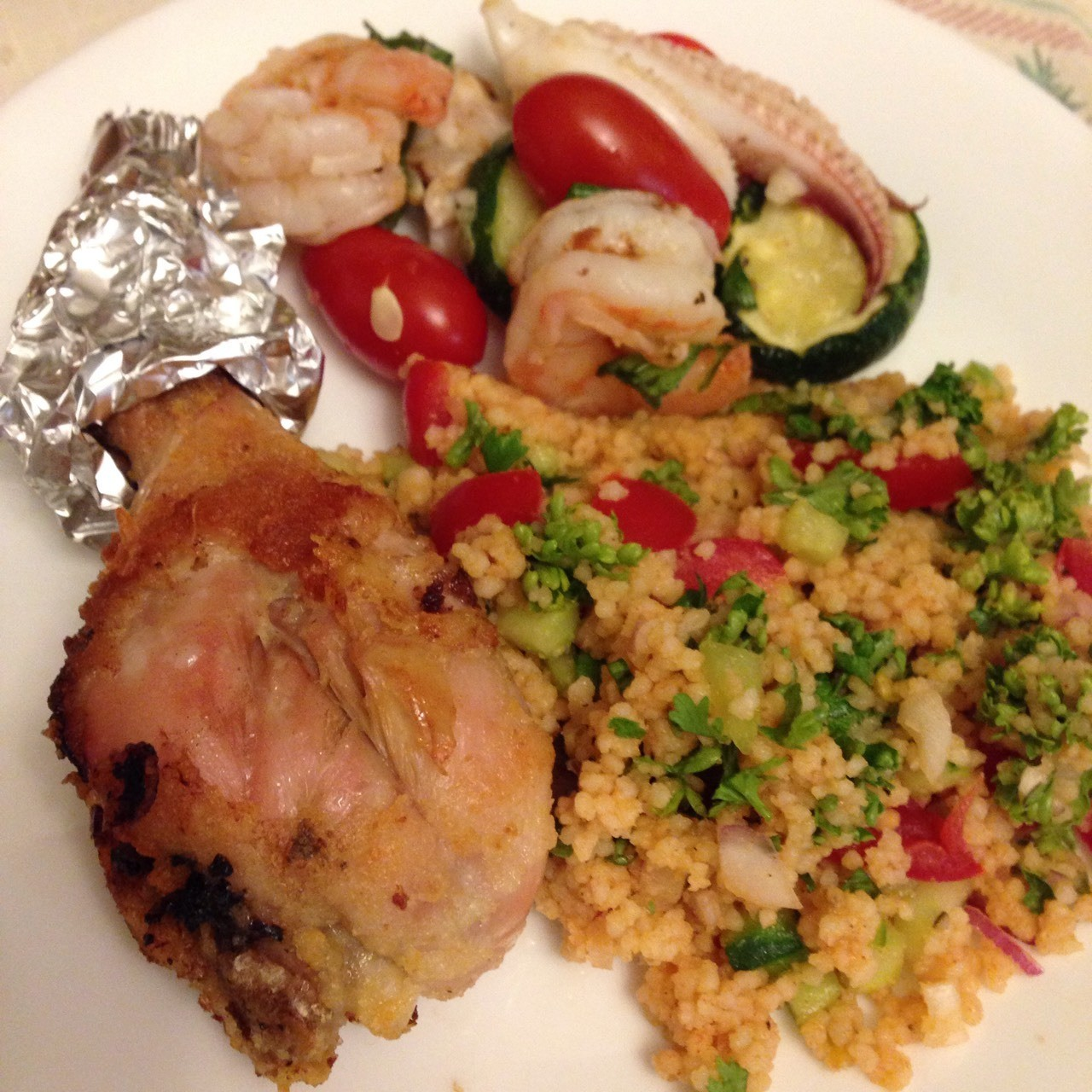 Couscous salad with fried chicken