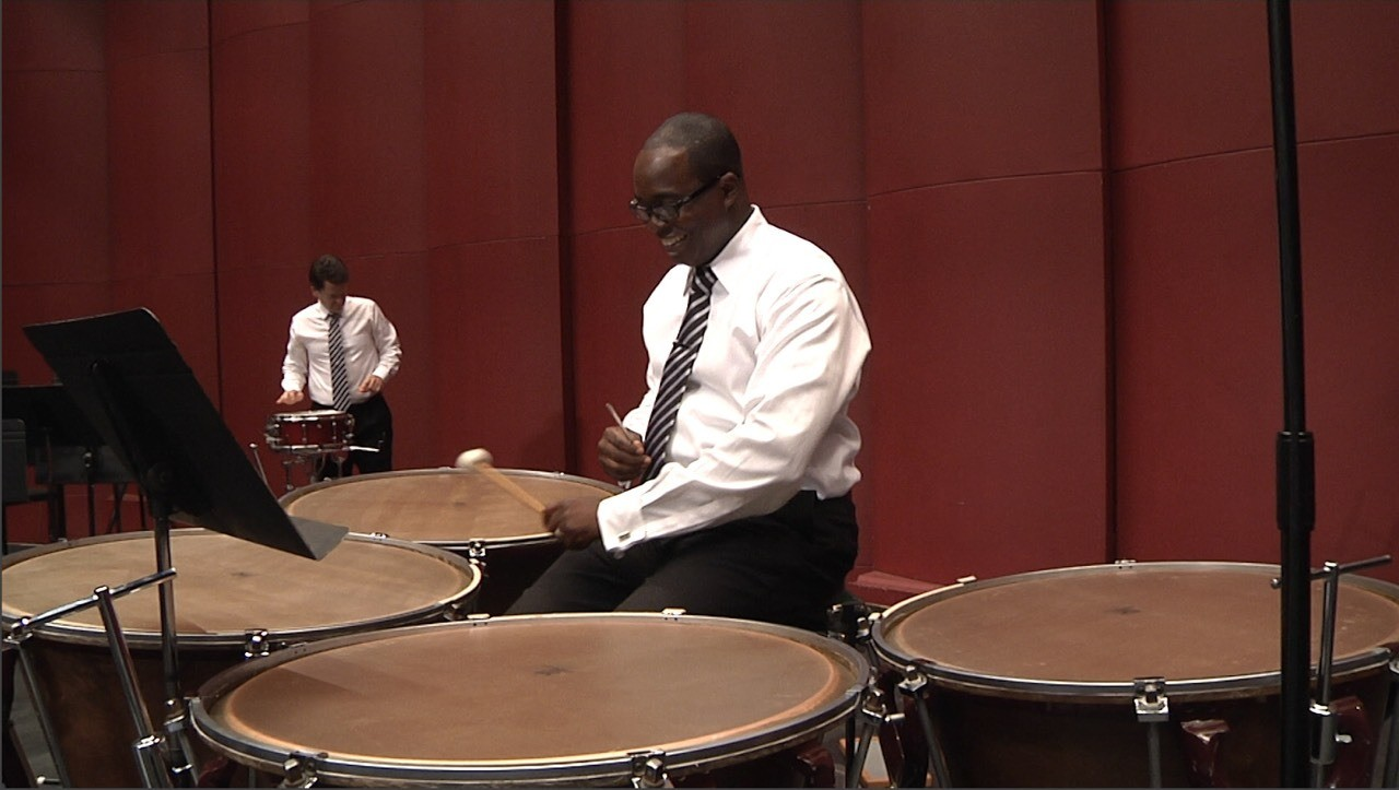 A light moment with timpanist Jauvon Gilliam. Jauvon is principal timpanist in the National Symphony.