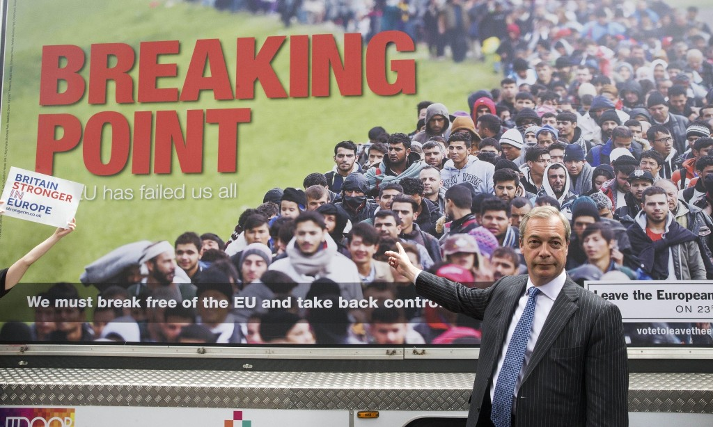 Nigel Farage defends Ukip poster showing queue of migrants