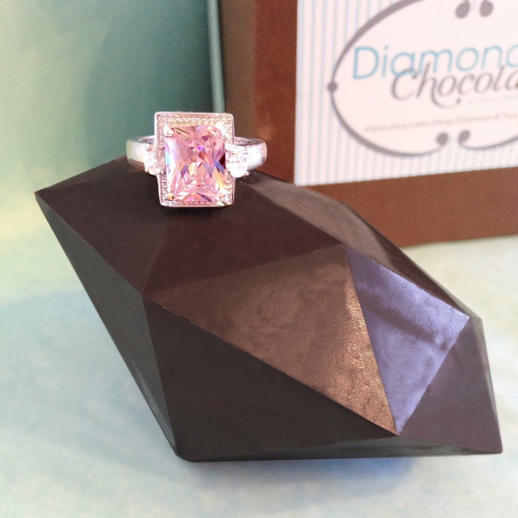 Gemstone Ring & Giant Chocolate Diamond - Diamond Shaped Chocolate - Colored Stone Ring - Anniversary Gift - Diamond Gift For Her - Unique