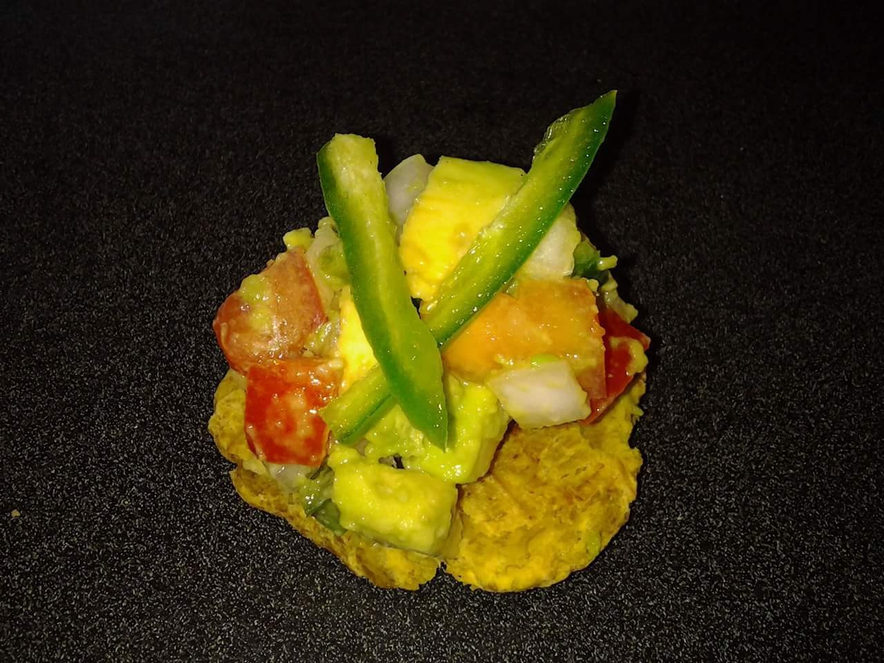 Ceviche on plantain