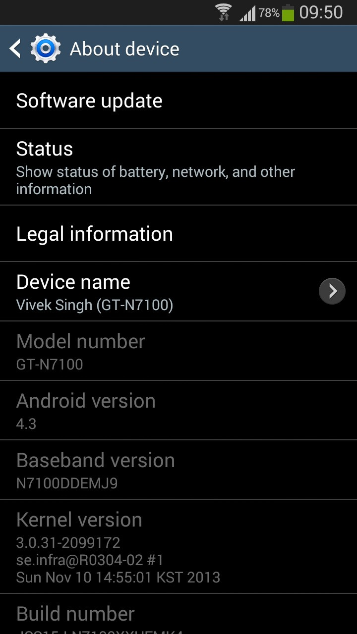My note 2 updated to android 4.3