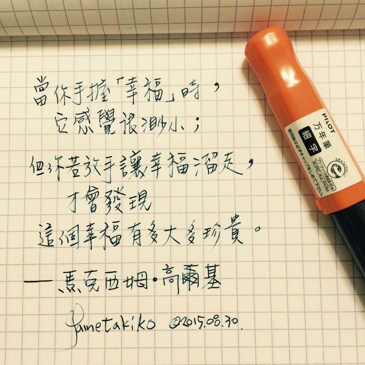 手中的 幸福 #鋼筆 #每日一句 #沉浸在文字間 #私領域
